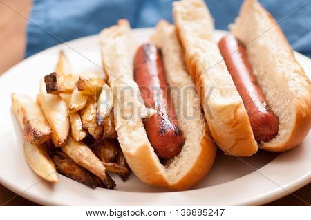 grilled hotdogs on white bread bun and home made fries. This is a classic lunch meal.