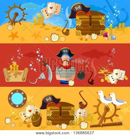 Pirate adventure banners underwater treasure pirate chest with gold steering wheel vector illustration