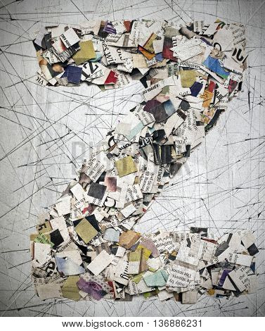 The letter   Z   made from newspaper confetti