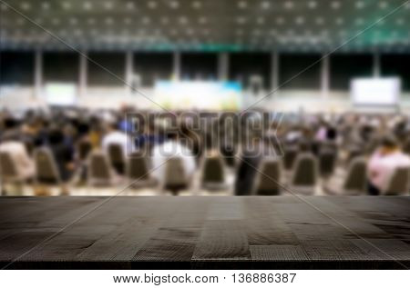 Desk space platform with business people in a meeting at hall for product display montage