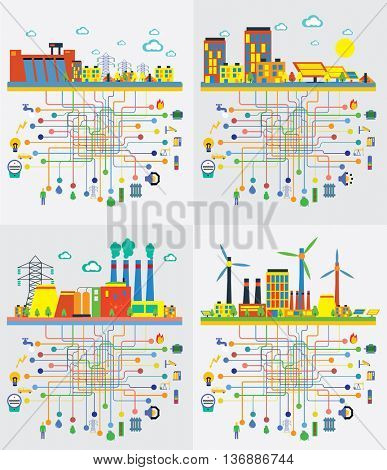 Infographic template. The power supply of town by power stations.