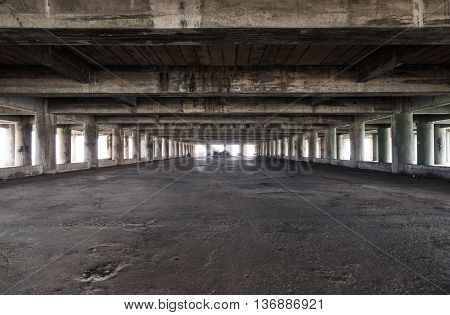 Large empty space of old deserted industrial