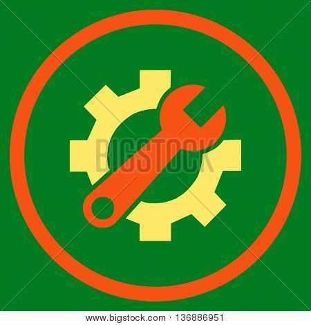 Hardware Maintenance vector bicolor icon. Image style is a flat icon symbol inside a circle, orange and yellow colors, green background.
