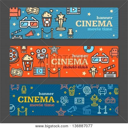 Cinema Banner Card Tickets Set with Popcorn, Film Strip and Clapper on Grey Background. Vector illustration
