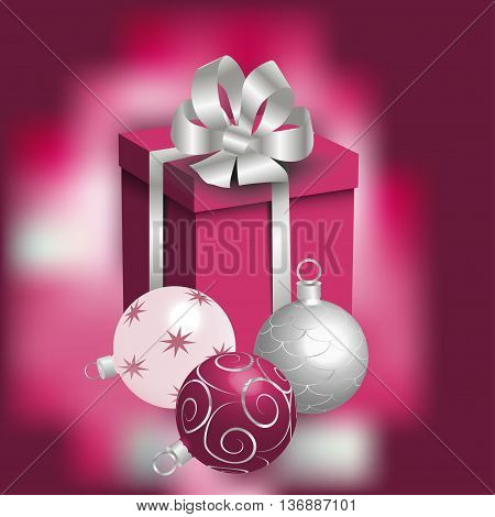 New Year card, silver, pink, and crimson Christmas balls and a gift, vector illustration