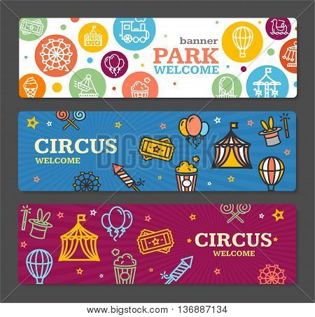 Circus Amusement Park Banner Card Tickets Horizontal Set on Grey Background. Vector illustration