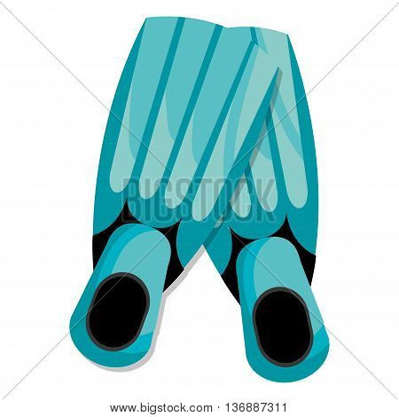 black and blue diving fins over isolated background, vector illustration