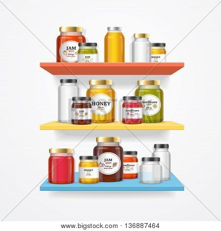 Jam Glasses on Shelf. Jars with Labels, Ready for Retail. Vector illustration