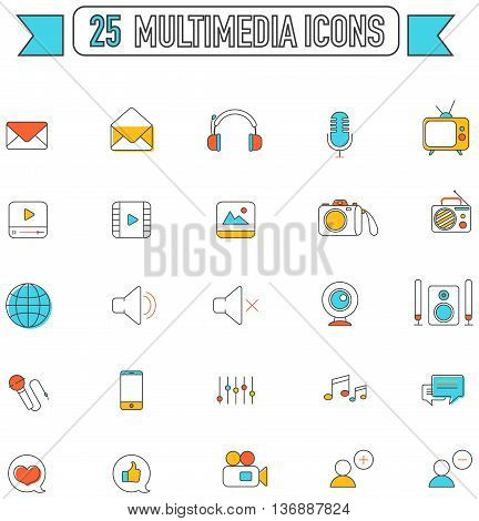 Flat line color multimedia and social media tool equipment sign and symbol icon collection set create by vector