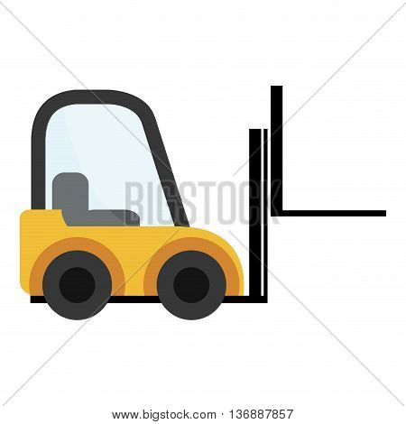 Yellow forklift cargo vehicle design, vector illustration eps10