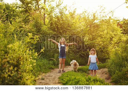 Little sisters and pet. Girls and dog strolling along the road in the city park. Pedigree dogs Spitz.