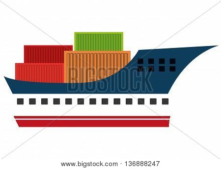 Freigther wit containers colorful icon, vector illustration eps10.