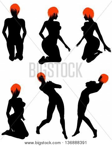Naked Sexy Girls Silhouette Set