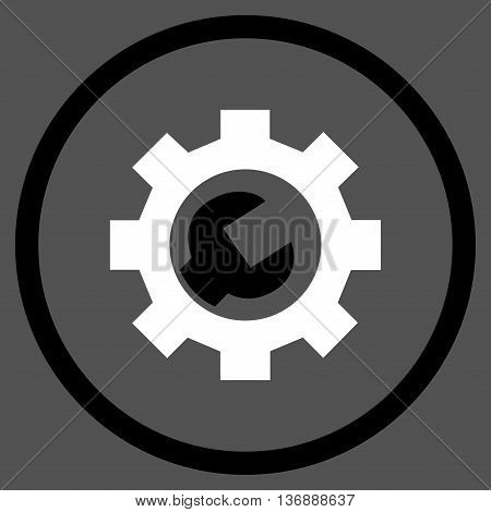 Configuration Tools vector bicolor icon. Image style is a flat icon symbol inside a circle, black and white colors, gray background.