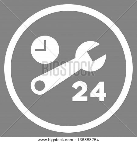 Nonstop Service Hours vector icon. Image style is a flat icon symbol inside a circle, white color, gray background.
