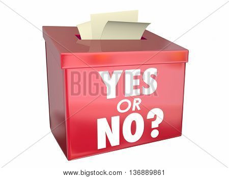 Yes or No Answer Box Vote Ballot Opinion Words 3d Illustration