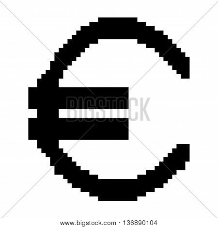 Sign pixel euro black. Monochrome icon isolated on white background. Pixelated design. Logo for business. Europe finance symbol made of pixels. Mark of commerce. Stock vector illustration