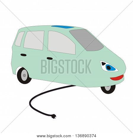 Illustration cartoon electric vehicle with a cord for charging isolated on white background
