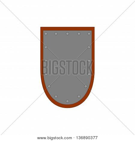 Sign shield silver. Protection icon isolated on white background. Flat mark. Symbol of a steel guard. Color element. Logo for military and security. Stock vector illustration