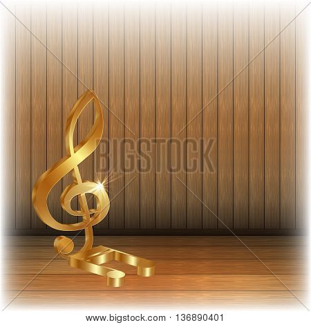 Vector illustration of gold and a gold treble clef note on a wooden background. You can use any text or image on a white background.