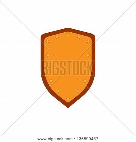 Sign shield gold. Protection icon isolated on white background. Flat mark. Symbol of a bronze guard. Colorful element. Logo for military and security. Stock vector illustration