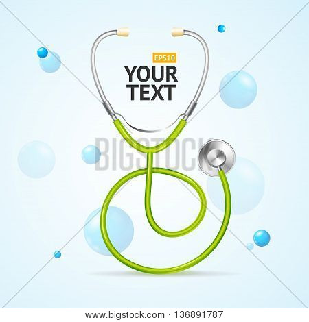 Stethoscope Medical Concept. Care Health and Diagnosis. Vector illustration