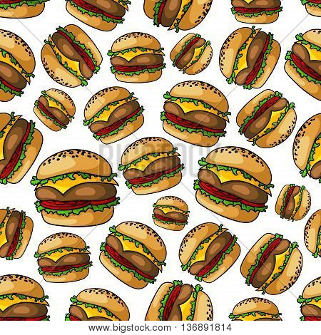 Crispy grilled seamless cheeseburgers pattern background of fast food sandwiches with beef burger patties, topped with melted cheese, tomatoes and lettuce on toasted poppy seed buns