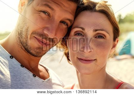 lovers sunlit portrait of man and woman