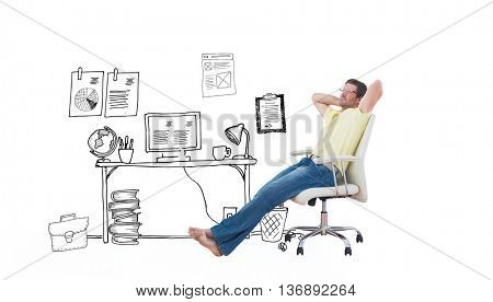 Man sitting on a swivel chair against doodle office with door