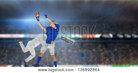 Businessman tackling a football player against rugby stadium