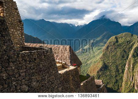 Ancient  famous  Guardhouse of Machu Picchu Peru