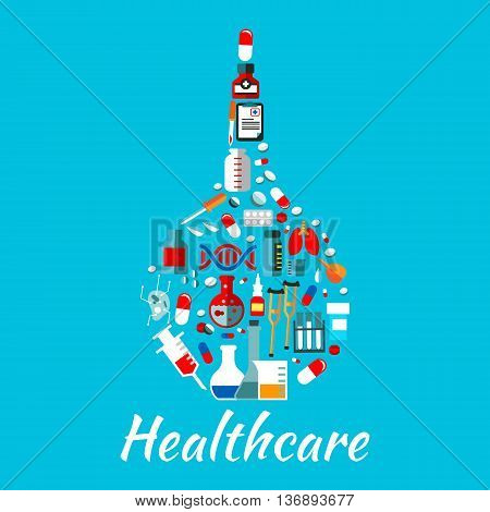 Healthcare flat icons composing a symbol of enema with pills and capsules, laboratory flasks and test tubes, medicine bottles and syringes, DNA and lungs, medical checkup form and crutches
