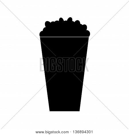 Sign popcorn. Monochrome food or fastfood plane image isolated on white background. Stock vector illustration
