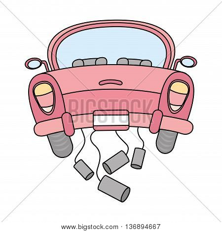 just married car isolated icon design, vector illustration  graphic