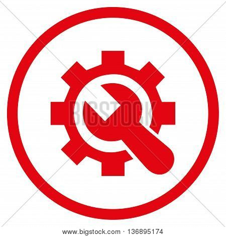System Setup vector icon. Image style is a flat icon symbol inside a circle, red color, white background.