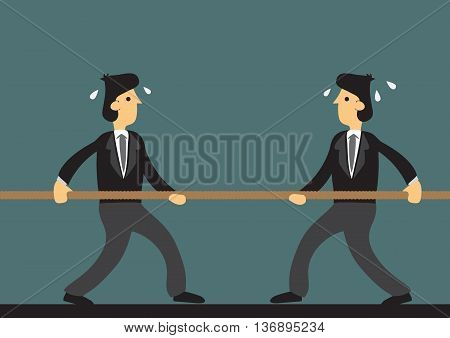 Cartoon businessmen engaged in tough tug of war. Vector illustration on metaphor for challenging business competition.