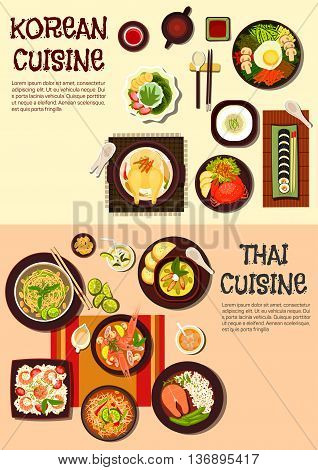 Exotic oriental korean and thai cuisine icon with sushi, spicy crab and salmon steak, fried noodles and rice dishes, shrimp and chicken soups, green curry and papaya salad, ice dessert with fruits and refreshing drinks. Flat style