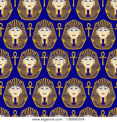 seamless pattern, pharaoh's head on a blue background