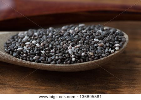 Black Chia Seeds Extreme Closeup