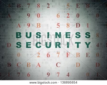 Security concept: Painted green text Business Security on Digital Data Paper background with Hexadecimal Code