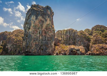 rock mountain on the andaman sea at Krabi, Thailand.