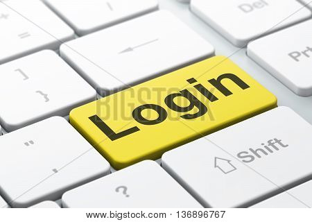 Security concept: computer keyboard with word Login, selected focus on enter button background, 3D rendering