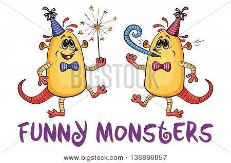 Set of Cute Cartoon Monsters, Colorful Characters with Sparkler and Festive Fife, Elements for your Party Holiday Design, Prints and Banners, Isolated on White Background. Vector