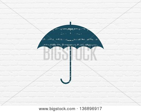 Safety concept: Painted blue Umbrella icon on White Brick wall background