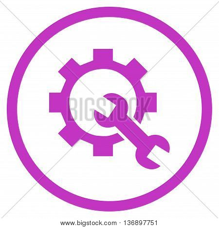 System Setup vector icon. Image style is a flat icon symbol inside a circle, violet color, white background.