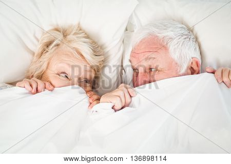 Overhead view of senior couple hiding in blanket on bed