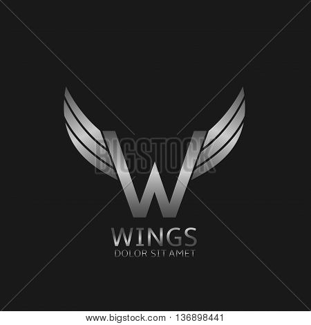 W letter logo. Silver wings symbol. Silver W letter logo template for air company