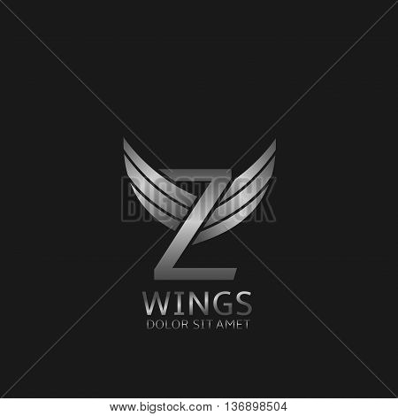 Z letter logo. Silver wings symbol. Silver Z letter logo template for air company