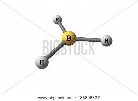 Borane - trihydridoboron - is an inorganic compound with the chemical formula BH3. It is a colourless gas that only persists at elevated temperatures or in dilution. 3d illustration
