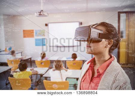 Sphere of skills against teacher using 3d glasses